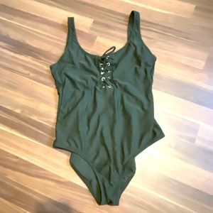 Olive Lace-Up Low Back One Piece